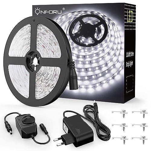 Onforu Kit 10M Dimmable LED Ruban Blanc Froid, 600 LED, 5000K, Bande LED 12V Réglable via Variateur, Bandeau LED Autocollant et Flexible, Eclairage Sous-Meuble pour Dressing, Bureau, Plafond, Vitrine