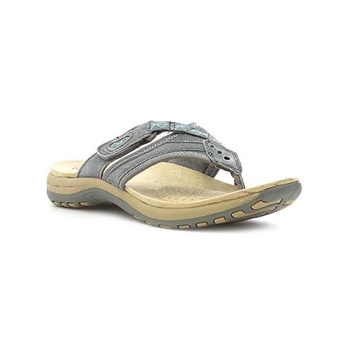 5f407e8b1576 Earth Spirit Womens Grey Leather Toe Post Sandal