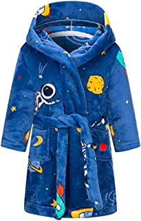 Kids Robe Soft Fleece Hooded Bathrobe Sleepwear for Girls Boys (Navy/Blue, 4T)
