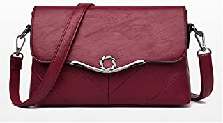 Fashion Women's Bags PU(Polyurethane) Crossbody Bag Buttons Solid Color Red/Gray/Purple (Color : Red)