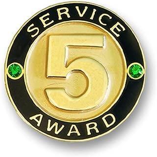 5 Year Service Gold Award Pin with Green Gemstones, 12 Pins