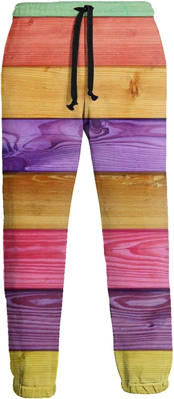 Mens Elastic Waist Sweatpants Rainbow Color Wooden Joggers Sweatpants for Gym Training Sport Pants