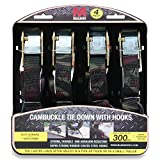Mann Cambuckle Tie Down Straps with S-hooks 4-Pack Set 1'x10' 300lb Load Capacity 900lb Break Strength (Black)