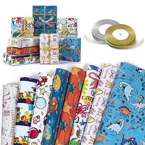 Papel Para Envolver Regalos, XiYee 8 Hojas Papel de Regalo con 2 Rollos de Cinta Dorada y Plateada para Regalos de día de San Valentín, Bodas, Cumpleaños, Christmas (70cm X 50 cm)