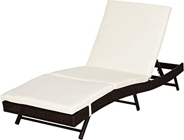 Outsunny 6 Position Adjustable Outdoor PE Rattan Wicker Chaise Patio Louge Chair - Black/Cream