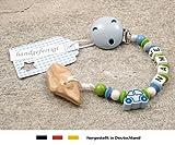 kleinerStorch Veilchenwurzel an Schnullerkette mit Namen - natürliche Zahnungshilfe Beißring für Babys - Schnullerhalter mit Wunschnamen - Jungen Motiv Auto in blau