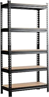 Tangkula 5-Shelf Steel Shelving Unit Storage Shelves, 60in Heavy Duty Storage Rack with Adjustable Shelves, Boltless Shelving Unit for Free Combination, Metal Utility Rack (1)