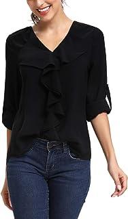 SIRUITON Chemisier Femme Blouse T-Shirts Sexy en Mousseline Manches Longues Top