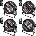 U`King Disco Lights, 4 Pack 36 LEDs Strobe Lights 7 Lighting Modes DJ Light RGB Colourful Stage Lights Flexible Remote Control DMX Control Par Lights