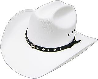 a08cbaa946374a Modestone Unisex Traditional Straw Cowboy Hat Sheriff Star Hatband White