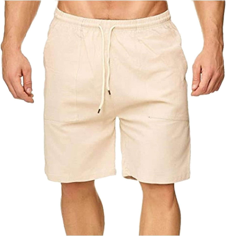 Linen Direct store Shorts Ultra-Cheap Deals for Men Big and Mens Casual Tall Cott Summer Solid