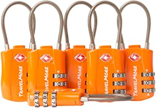 6 Pack TSA Approved Travel Combination Cable Luggage Locks for Suitcases & Backpacks - Orange