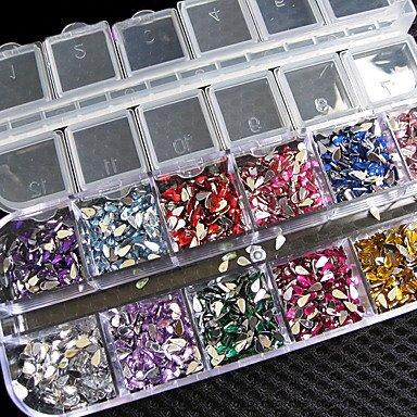 MZP Nouveau!!! 3000 pièces de mélange de couleurs de teardrop nail art sticker gemmes strass deco brille belle décoration de clous