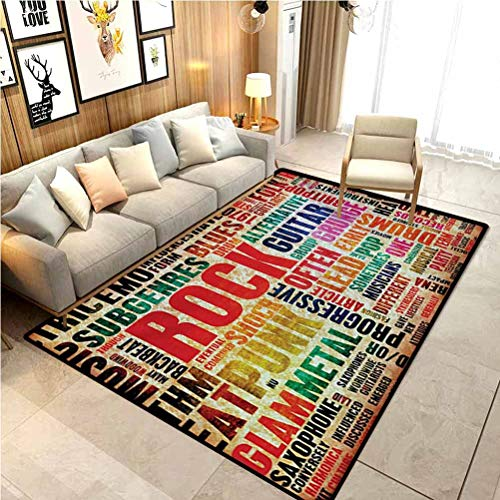 Music Children Play Princess Room Decor Rug Retro Rock and Roll Symbol Lettering Grunge Distressed Colors Back Then Sound Music Theme for Bedroom, Living Room, and Kitchen Multi 6 x 7 Ft