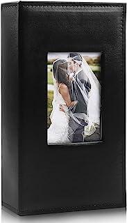 RECUTMS Photo Album 4x6 300 Pockets Black Premium Leather Cover 4x6 Photo Sleeves Boy Girl Family Small Photo Albums Photo Albums Book Horizontal Photo Picture Wedding Anniversary (Black)