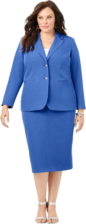 Roamans Regular discount Women's Plus Size Two-Button Skirt Blu Suit - True W Super special price 32