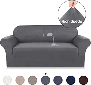 Velvet Plush Sofa Slipcovers For 3 Cushion Couch, Suede Couch Slipcover High Stretch Suede Cover for Living Room Gray Suede Spandex Slipcover Slip Resistant 1 Piece Sofa Slipcover (Sofa, Grey)