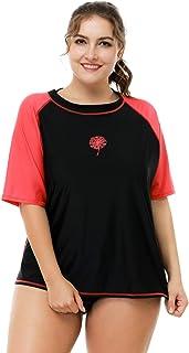 ATTRACO Women Plus Size Rash Guard Short Sleeve Rashguard UPF 50+ Swimming Shirt