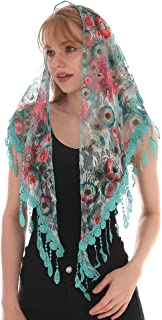 LMVERNA Triangle Lace Shawl Mantilla Veil Lightweight Tassel Scarf Fashion Floral Shawls and Wraps for Women