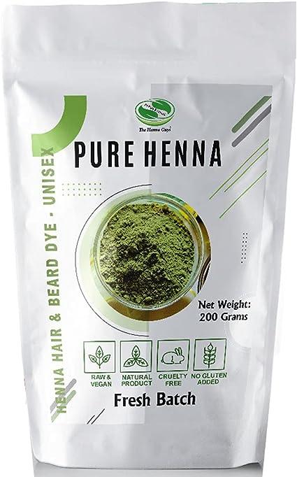 Polvo de henna 100% puro para tinte para el cabello - Color de cabello de henna roja, La mejor henna roja para el cabello - The Henna Guys (200 g)