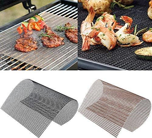 BN 2 pezzi Tappetino per barbecue, Tappetino grigliato, Griglia Rete Barbecue, per grill da interno ed esterno (nero, marrone, 40 * 30 cm)