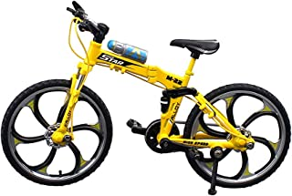 Urchins' Family Alloy Mini Bicycle Toy - Finger Bike for Collections (Folding Mountain Bike Yellow)
