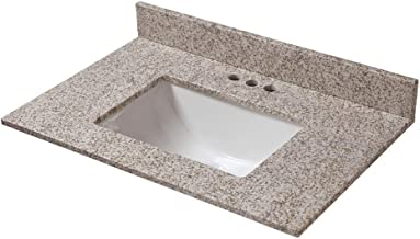 CAHABA CAVT0196 31 in x 19 in Golden Hill Granite Vanity Top with trough bowl and 4 in faucet spread