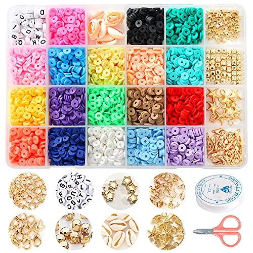 Cuentas de colores juguetes para hacer pulseras collares joyería de bricolaje cuentas de arcilla manualidades de bricolaje para niños niños adultos juego completo de letras (Arcilla suave)