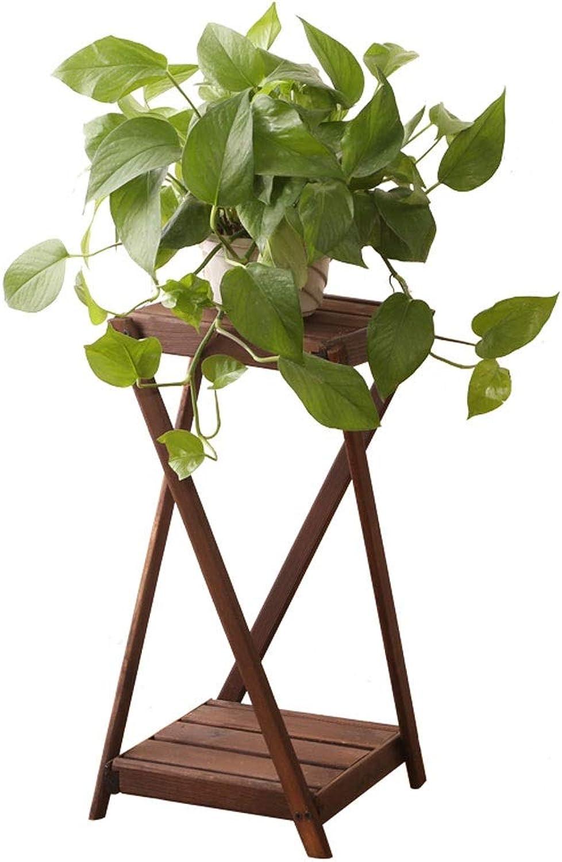 WAN SAN QIAN- Wooden Flower Shelf Retro Multi-Layer Pot Rack Living Room Balcony Multi-Function Flower Stand Flower racks (color   A, Size   25  55CM)