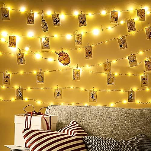 QeeFop Clip Cadena de Luces LED 10M 100LED Colgar Fotos de Luces con 40 Pinzas Guirnaldas Luces Fotoclips, Alimentado por Pilas, Guirnalda de Luces con Clips para Decoraciones de Dormitorio, Bodas