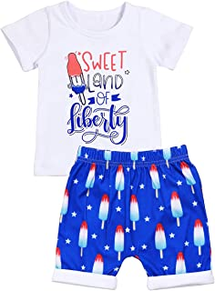 Toddler Boys Outfits Baby Summer Clothes Cotton Short Sleeve T-Shirts Tops and Printed Short Pants Suits Set