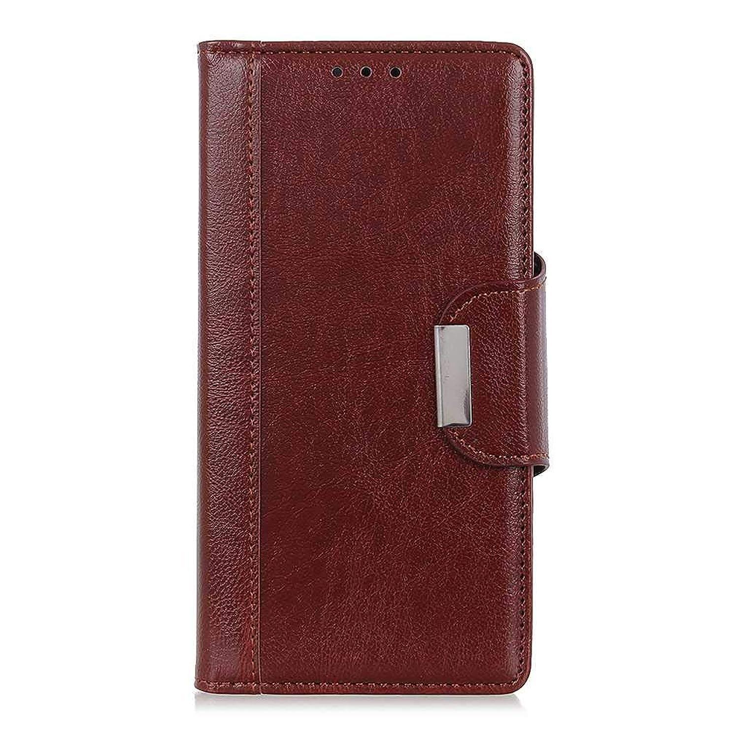スクワイアゲージ磁器CUSKING Galaxy A6 Plus 財布型 ケース, Samsung Galaxy A6 Plus スマホケース PUレザー フリップ ノート型 ストラップ付き カード収納 付き 保護ケース, ブラウン