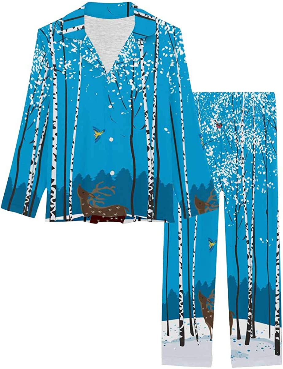 InterestPrint Soft Nightwear Loungewear with Long Pants Pajamas Set Birch Trees
