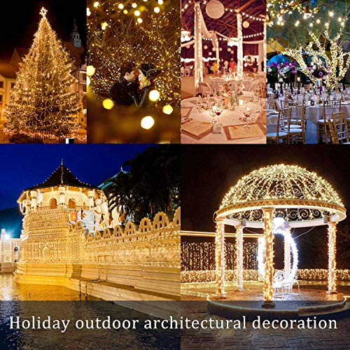 2 Pack 100 LED Solar Powered Copper Wire String Lights Outdoor, Waterproof, 8 Modes Fairy Lights for Garden, Patio, Party, Yard, Christmas (Warm White)
