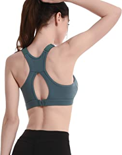 Adjustable Sports Yoga Bras, Women Sexy Hollow Out Breathable Active Gym Bra,Green,XL