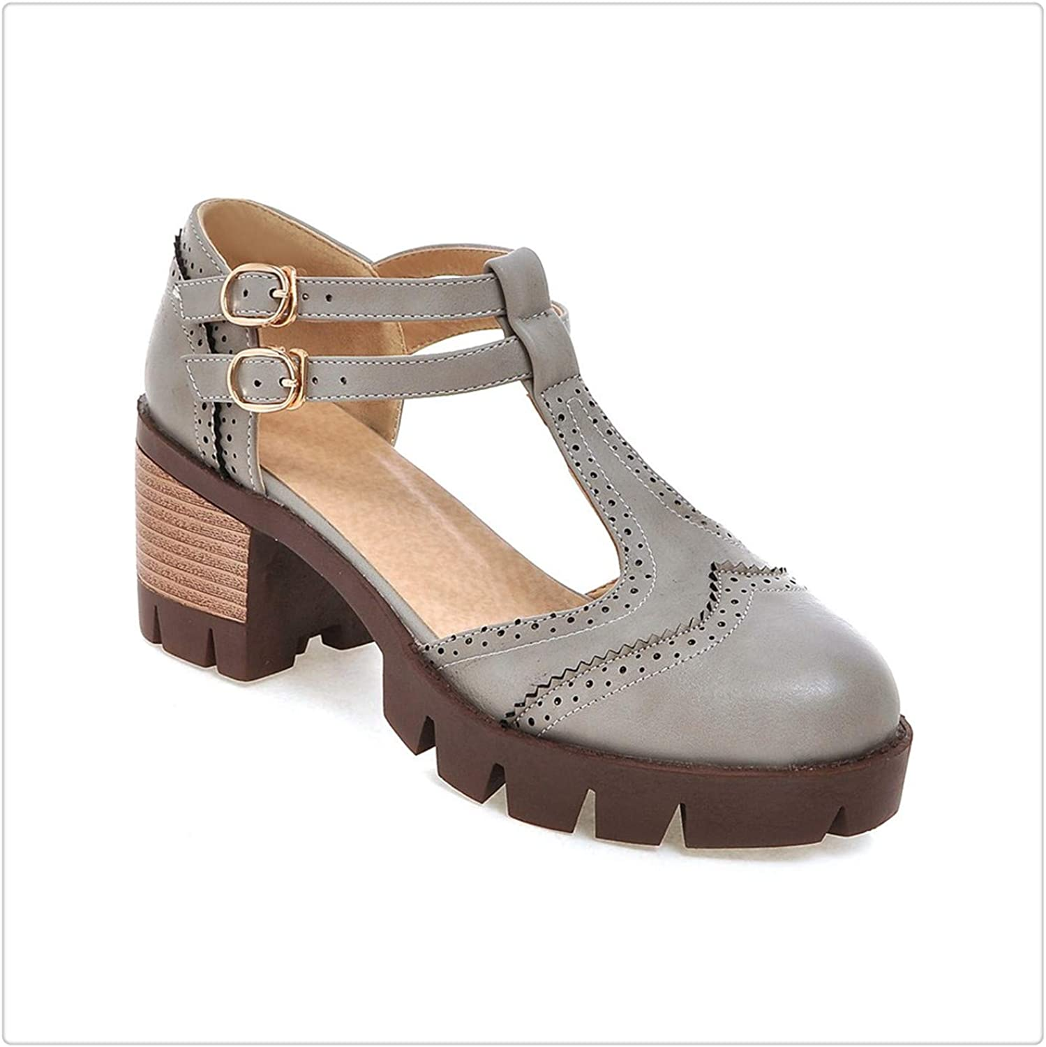 Yyixianma Spring Autumn Buckle Office Lady high Heel Retro Style Round Toe shoes Thick Heel