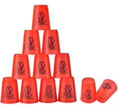 DEWEL Quick Stacks Cups, 12 PC of Sports Stacking Cups Speed Training Game(Red)
