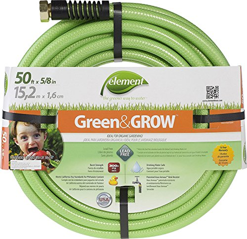 "Swan Products ELGG58050 Element Green & Grow Lead Free Gardening Hose 50' x 5/8"", Green"