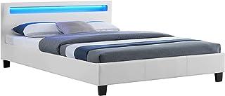 IDIMEX Lit Double pour Adulte Pinot Couchage 140 x 190 cm avec sommier 2 Places pour 2 Personnes, tête de lit avec LED int...