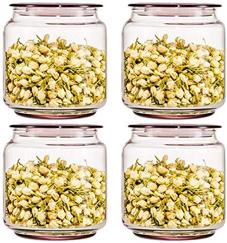 Storage jar Keuken Storage Box Voedsel Container van de Opslag van het gebrandschilderd glas Transparant verzegelde blikken kunnen worden opgeslagen in Tea/Spice/Suiker Set vier-delige set 500ml /