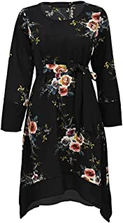 Women Waisted Floral Irregular Design Dress Fashion Long Sleeves Maxi Blouse - Size M