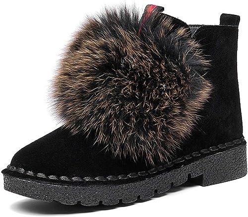 He-yanjing botas de Felpa, botas de Nieve para mujer botas de Cuero para mujer más Terciopelo Grueso y cálido Botines Casuales de Cuero Invierno