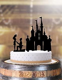 Castle Couple Proposal Wedding Cake Topper