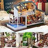 Joojun Casas de muñecas, Kit de Modelo de casa de Bricolaje, casa de muñecas en Miniatura de casa de Navidad para niños y Adultos Regalo de cumpleaños de Navidad