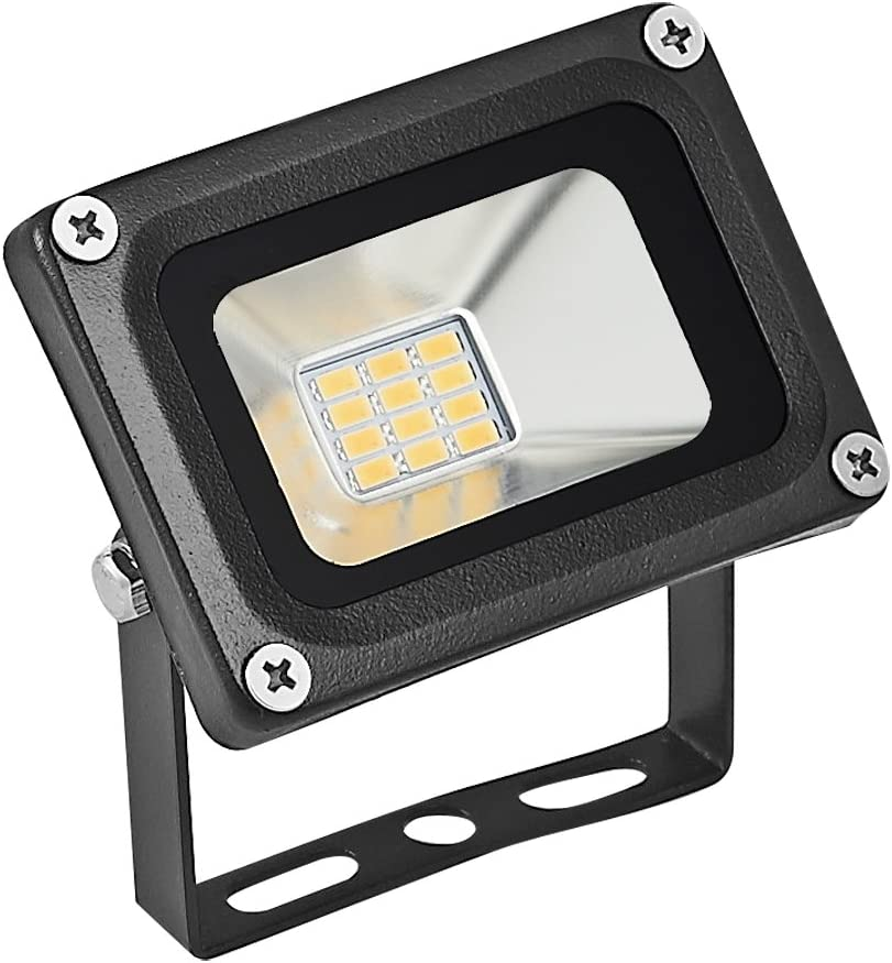 12V 10W LED Flood Light, CE and ROHS Certified Outdoor Security Light SMD 2835 Super Bright Warm White Floodlight for Yard, Garage, Garden, Lawn, Basketball Court, Playground