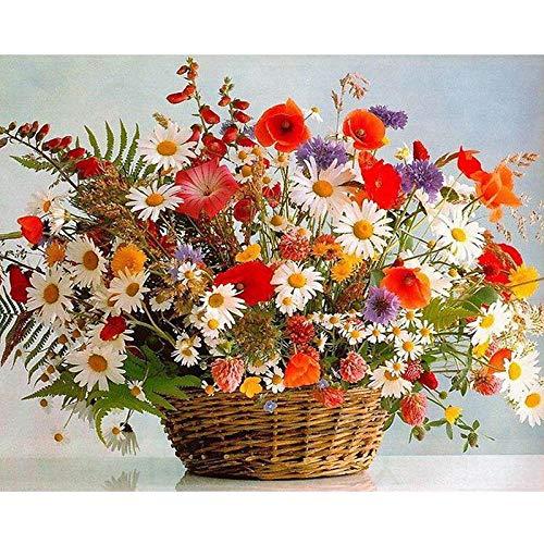 Lifang sister DIY Adult Preprinted Canvas Ölgemälde Geschenk Kinder Digital Suite Gemälde Home Decoration-Blumenkorb Blumenstrauß Landschaft 16X20 Zoll (kein Rahmen)