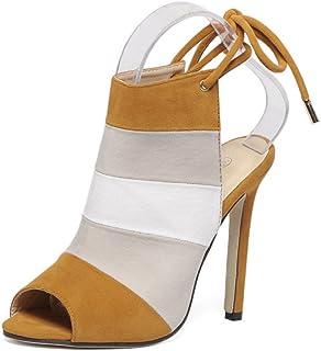 GLJJQMY Women's Sandals Summer Open Toe Rainbow Colorful Color Matching Stiletto Fish Head Sandals 35-40 Yards Women's Sandals (Color : Brown, Size : 38)