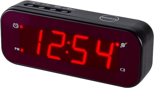 时间陀螺数字闹钟容易设置和电池操作只有大的红色数字卧室客厅旅行黑色