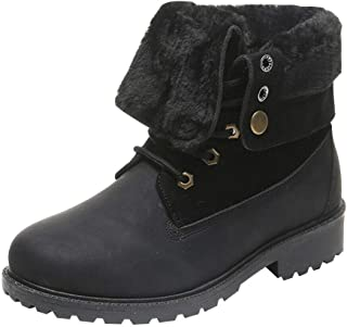 Hzjundasi Winter Warm Ankle Boots for Women Ladies Plus Lining Snow Boots Round Toe Booties Casual Sneakers Shoes