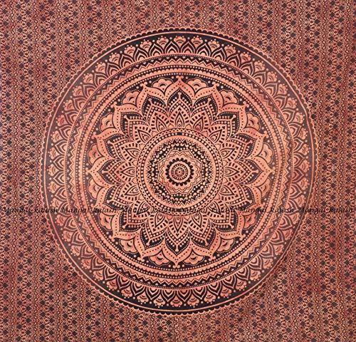 Indische Mandala Hippie Wandteppiche Wandbehang Einzigartige indische Wandteppiche Hippie Mandala Schöne handgemachte Tagesdecke Wanddekoration Königin Wandteppich (Rot Tie Dye Ombre, 86